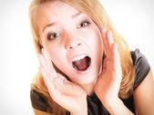 Woman blonde buisnesswoman shouting on white — Stock Photo