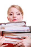 Paperwork. Businesswoman carrying stack of documents — Stock Photo