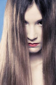 Depression. Portrait sad emotional girl covering face with long hair — Stock Photo