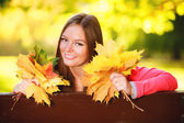 Fall season. Portrait girl woman holding autumnal leaves in park — Foto Stock