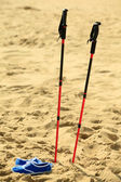 Nordic walking. sticks and violet shoes on a sandy beach — Stock Photo