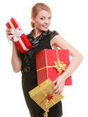 Holidays love happiness concept - girl with gift boxes — Stockfoto