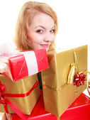 Holidays love happiness concept - girl with gift boxes — Stock Photo
