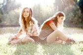 Twee vriendinnen buiten — Stockfoto