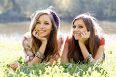 Two girlfriends outdoor — Stock Photo