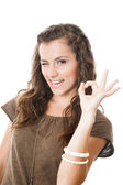 Young female showing ok sign — Stock Photo