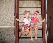 Two little girls outside — Stock Photo