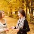 Stock Photo: Two young females outdoors
