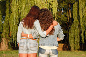 Two females in jeanswear — Stock Photo
