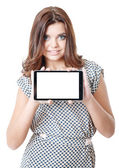Young female showing tablet pc — Stock Photo