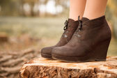 Boots on stump — Stock Photo