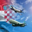Croatia Flag and travel - Stock Photo