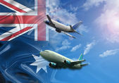 Australia Flight and flag — Stock Photo