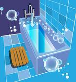 Bathtube_blue — Stock Vector