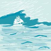 Watercolor sea — Stock Vector