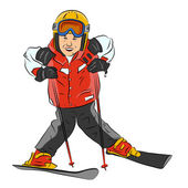 Skier_boy_color_one — Stock Vector