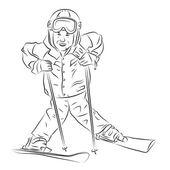 Skier_boy_Bw_one — Stockvektor