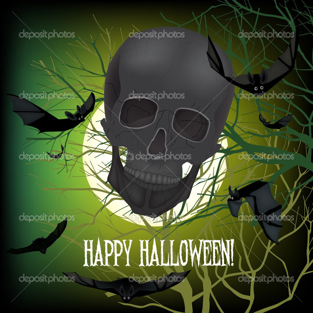 Helloween vector horrible background  with black  bats and skull — Stock Vector #13655542
