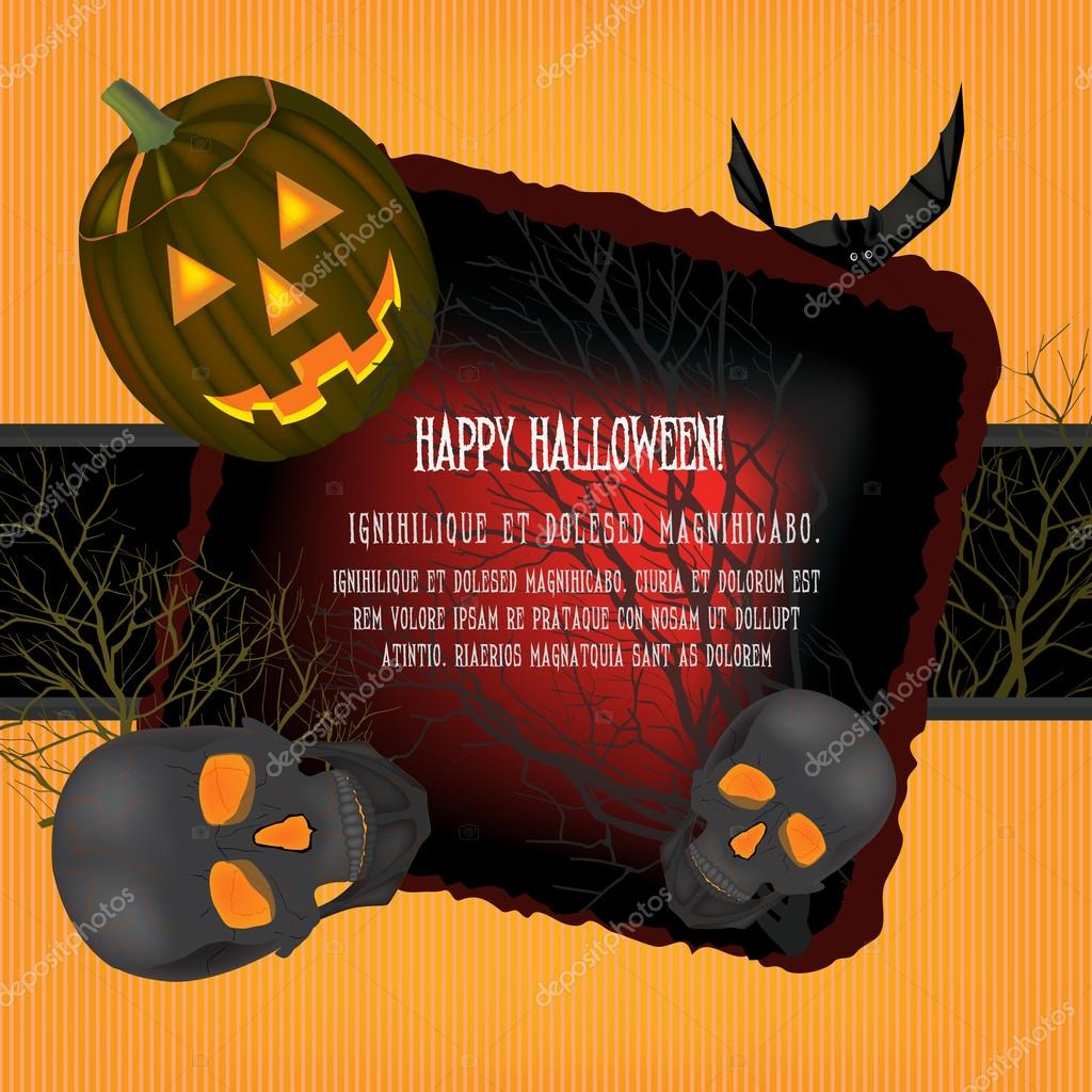 Helloween vector horrible background  with black  bats and skulls  Stock Vector #13655550