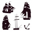 Vector set of beautiful brigantine silhouettes. Vector illustrations. - Stock Vector