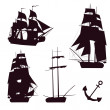 Vector set of beautiful brigantine silhouettes. Vector illustrations. — Stock Vector #13944862