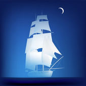 Vector illustration of night seascape with brigantine — Stock Vector