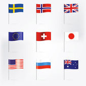 Several World flags. Illustration in Vector. — Stock Vector