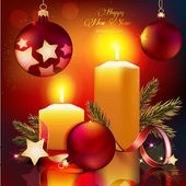01_Christmas balls_candles — Stock Vector