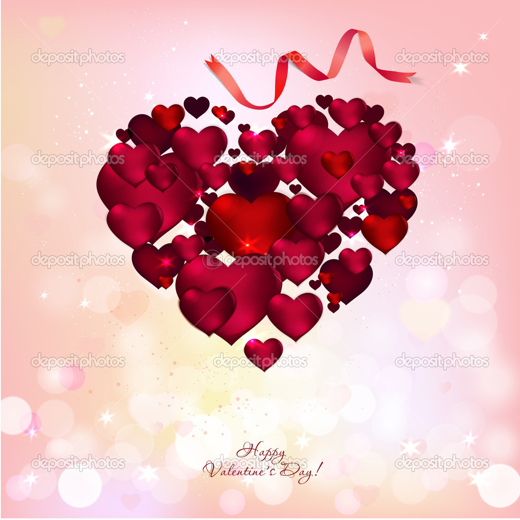The illustration of red romantic heart background — Stock Vector #18523381