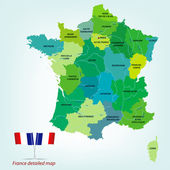 Detailed France map with provinces, rivers and detailed national borders. Vector illustration. — Stock Vector