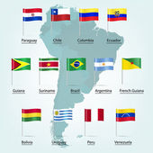 South America countries flags — Stock Vector