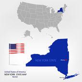 American Map NewYork a — Stock Vector
