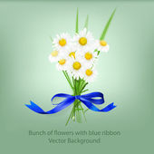 Bunch of flowers with blue ribbon — Stock Vector