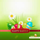 Easter Eggs Grass Background a — Stock Vector