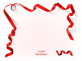 Curled red ribbon — Stockvektor