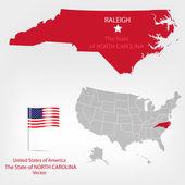 Carolina del norte americanmap — Vector de stock
