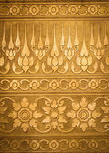 Gold Metal Plate with Thai Traditional Carving — Stock Photo