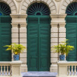 European style green door of old building in grand palace, Bangkok, THailand — Stock Photo #28006699