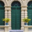European style green door of old building in grand palace, Bangkok, THailand — Stock Photo