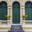 European style green door of old building in grand palace, Bangkok, Thailand — Stock Photo #28006761