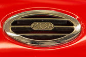 Closeup of the 1957 MG hood ornament — Stock Photo