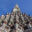 The Temple of Dawn, Wat Arun, Close-up the top of pagoda in blue background — Stock Photo