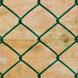 Rusted Green Wire Fence with Grunge Wall Background, Vertical pattern — Stock Photo #34238381