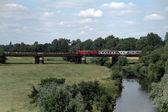 A train drives over the bridge — Stock Photo