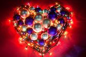 сердце рождества / улыбаясь елочные шары — Стоковое фото