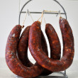 Hanging sausages — Stock Photo