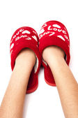 Hand with red shoes — Stock Photo