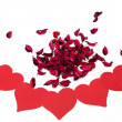Flower petals with hearts — Stock Photo
