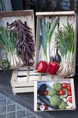 Lådor med grönsaker — Stockfoto
