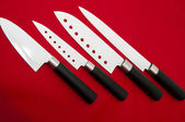Blanc couteaux tranchants coupe — Photo